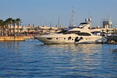 Yacht at harbour stock image