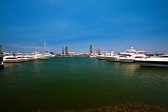 Yacht Harbour 2. Boats moored on the Broadwater, Gold Coast Stock Photos