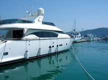 Yacht in harbour Stock Photo
