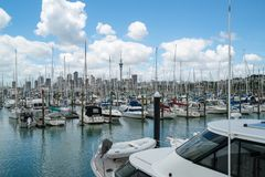 Yacht at Harbour in Auckland, New Zealand stock image