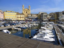 City yacht harbour with motor cruisers. The old fishing harbour at Bastia on Corsica, France Royalty Free Stock Photo