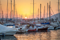 Yacht harbour with setting sun Stock Images