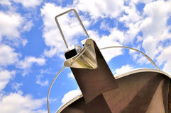 Yacht head under sky and cloud. Head of yacht body under blue sky and white cloud, shown as interesting shape and color, and seaside holiday Royalty Free Stock Images
