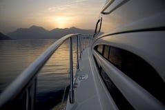 Yacht Heading To The Mountains Stock Photos