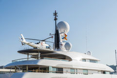 Yacht with a helicopter on its deck, Barcelona Stock Images