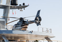 Yacht with  helicopter Royalty Free Stock Photos