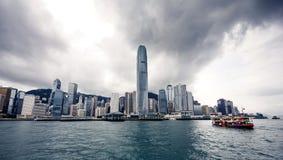 Yacht Hong Kong city buildings Royalty Free Stock Image