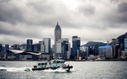 Yacht Hong Kong city buildings Stock Photo