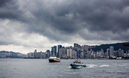 Yacht Hong Kong city buildings Stock Photos