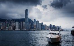 Yacht Hong Kong city buildings Stock Image