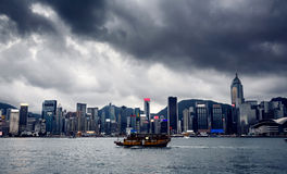 Yacht Hong Kong city buildings Royalty Free Stock Photography
