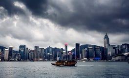 Yacht Hong Kong city buildings Royalty Free Stock Photography