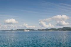 Yacht on the Horizon. Beautiful Adriatic coast near Zadar, Croatia Royalty Free Stock Photo