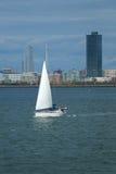 Yacht i den New York hamnen Arkivfoton