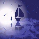 Yacht i det öppna havet vektor illustrationer