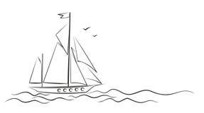 Yacht i havet royaltyfri illustrationer