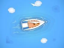 Yacht i havet vektor illustrationer