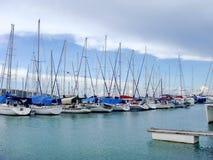 Yacht i marina Fotografering för Bildbyråer
