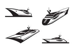 Yacht i olikt perspektiv vektor illustrationer