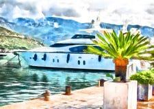 Yacht i porten av Montenegro royaltyfri illustrationer