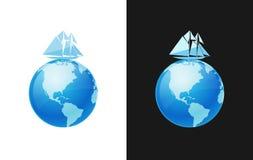 Yacht i världslopp royaltyfri illustrationer