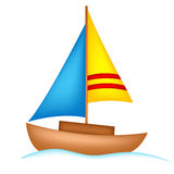 Yacht. Illustration of a colorful yacht isolated on white background stock illustration