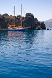 Yacht im Ägäischen Meer. Stockfotografie