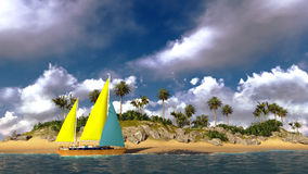 Yacht In Paradise Island Royalty Free Stock Photography