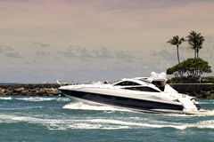 Yacht in inlet Royalty Free Stock Image