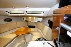 Yacht interior. Interior of luxury yacht cabin royalty free stock photo