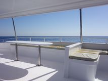 Yacht interior against sky. Interior of yacht against sky Stock Photos