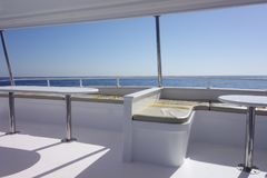 Yacht interior against sky. Image of an interior of yacht Royalty Free Stock Photo