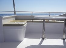 Yacht interior against sky. Interior of yacht against sky Royalty Free Stock Photos