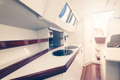 Yacht interior. Photo of a luxury yacht interior part Royalty Free Stock Image