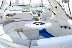 Yacht interior with table royalty free stock image
