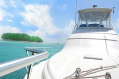 Yacht and island Stock Photography