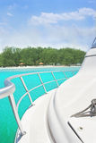 Yacht and island royalty free stock photo