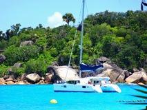 Yacht on the island. Anse Lazio - the BEST beach in the world ! Yacht on the island Praslin Stock Photos