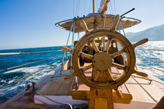 Yacht journey, steering wheel Royalty Free Stock Photography