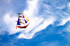 Yacht kite on blue sky background Royalty Free Stock Image