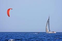 Yacht and kitesurfer Royalty Free Stock Photo