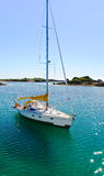 Yacht in La Manche near Ile de Brehat, Brittany Royalty Free Stock Photo