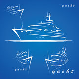 Yacht labels. Vector illustration of yacht from various angles stock illustration