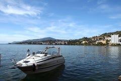 Yacht on a lake Stock Photos