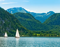 Yacht on a lake. Royalty Free Stock Photo