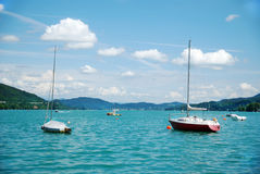 Yacht at the lake. Red Yacht at the lake in Austria Royalty Free Stock Photos