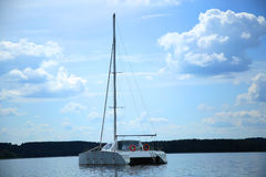 Yacht on the lake Royalty Free Stock Photo