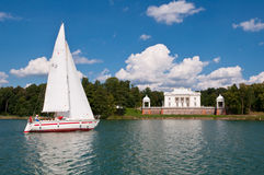 Yacht in the Lake Stock Photography