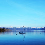 Yacht on lake geneva Stock Photo