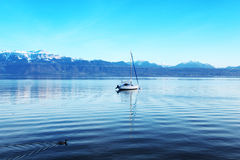 Yacht on lake geneva Royalty Free Stock Photos